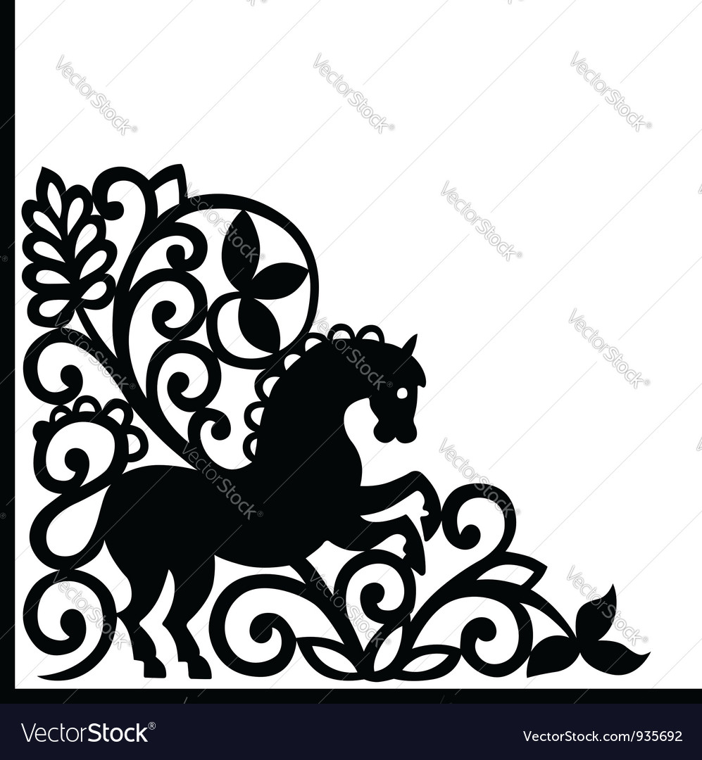 Decorative element with horse vector | Price: 1 Credit (USD $1)
