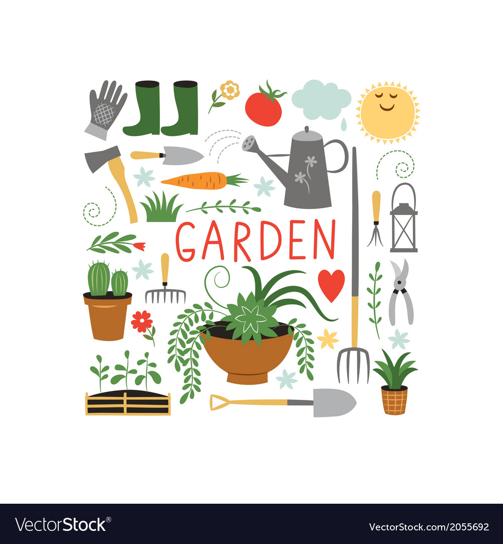 Garden objects design elements vector | Price: 1 Credit (USD $1)