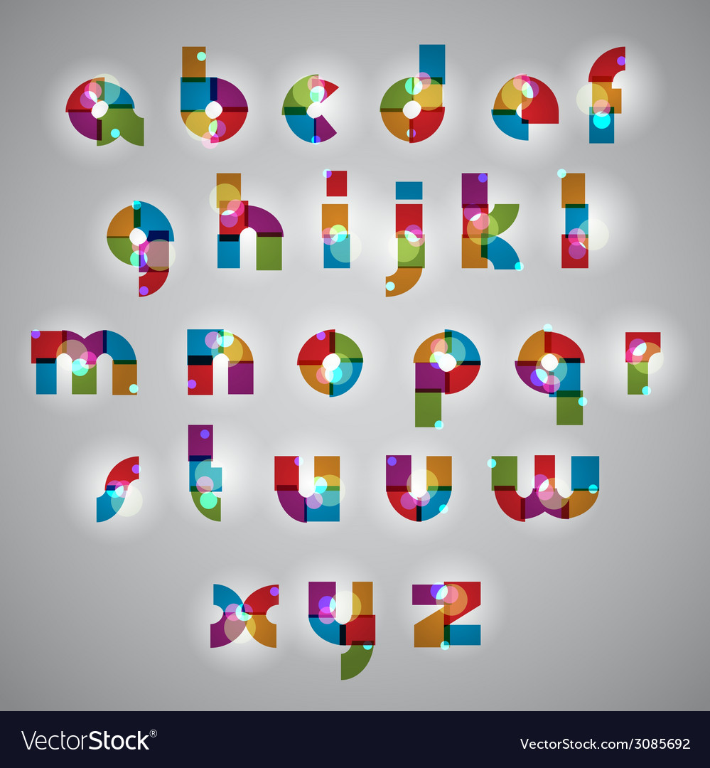 Geometric style letters alphabet with lights vector | Price: 1 Credit (USD $1)