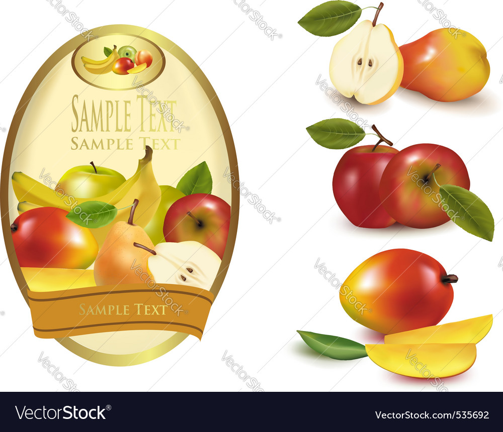 Gold label with fruit vector | Price: 3 Credit (USD $3)