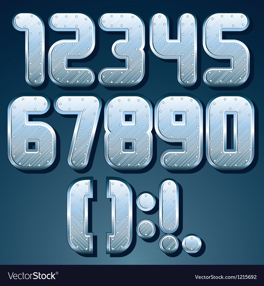 Metallic font set of shiny silver numbers vector | Price: 1 Credit (USD $1)