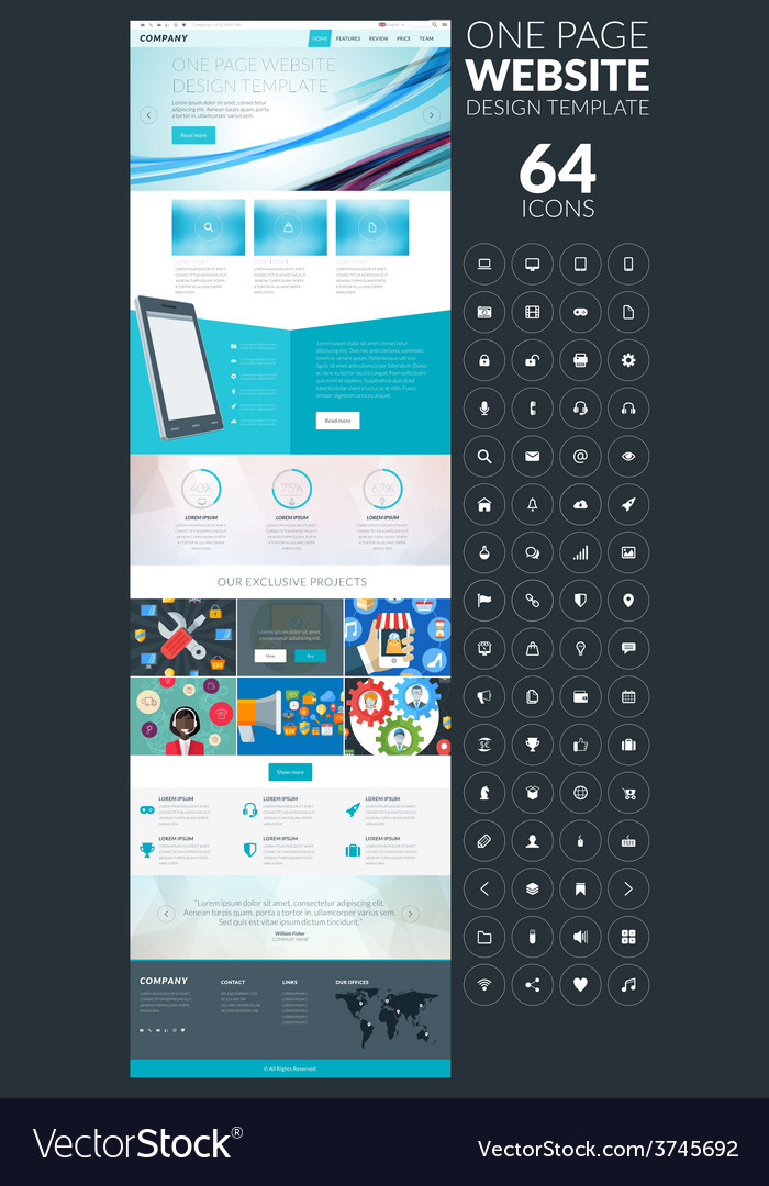 One page website template in flat style with icon vector | Price: 1 Credit (USD $1)