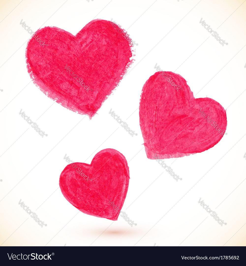 Pink acrylic color painted hearts set vector | Price: 1 Credit (USD $1)