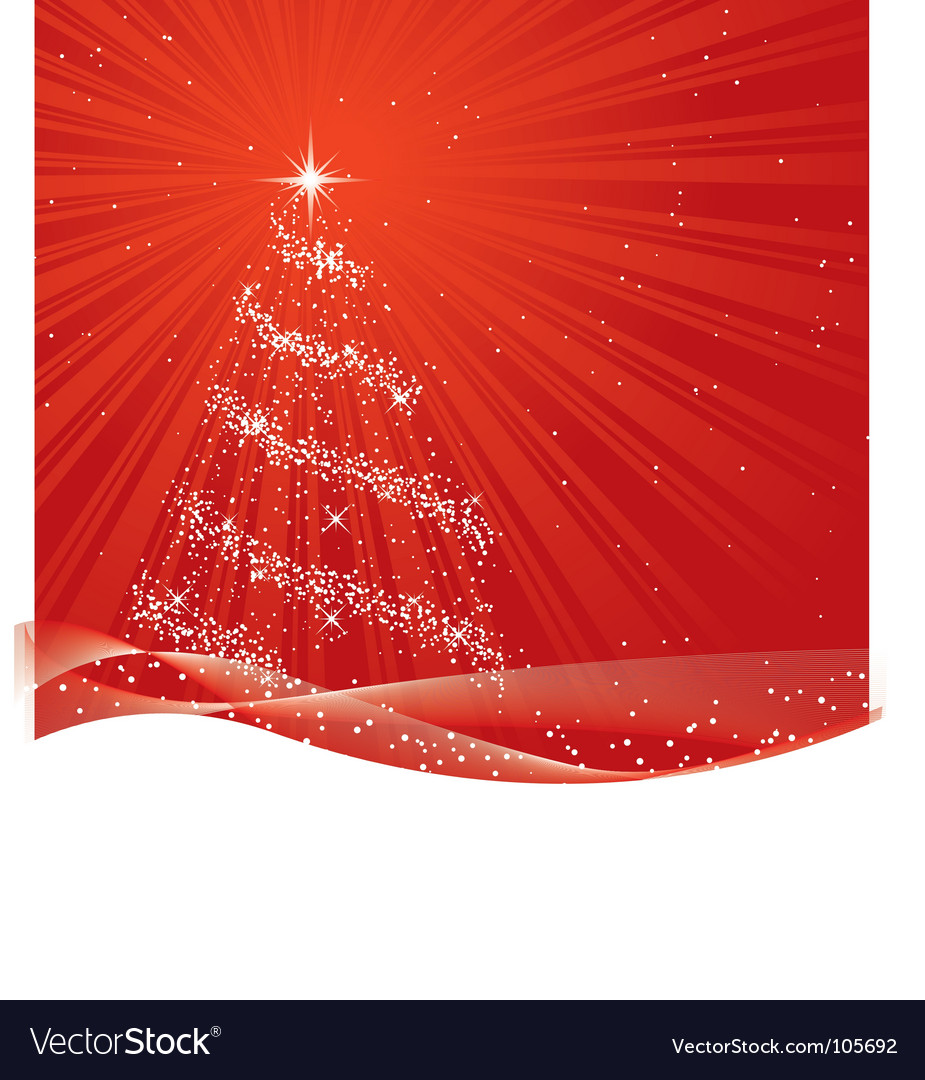 Shiny red christmas tree vector | Price: 1 Credit (USD $1)