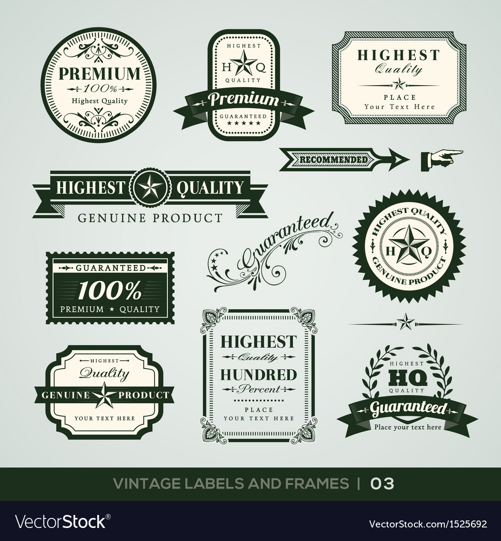 Vintage premium quality and guarantee labels and f vector | Price: 1 Credit (USD $1)