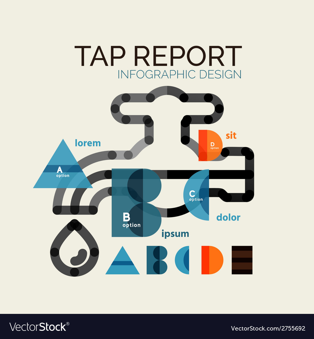 Water tap or faucet infographic vector | Price: 1 Credit (USD $1)
