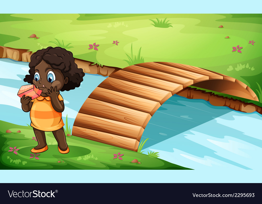 A black little girl near the bridge vector | Price: 3 Credit (USD $3)