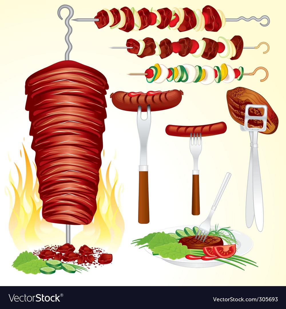 Barbecue set vector | Price: 3 Credit (USD $3)