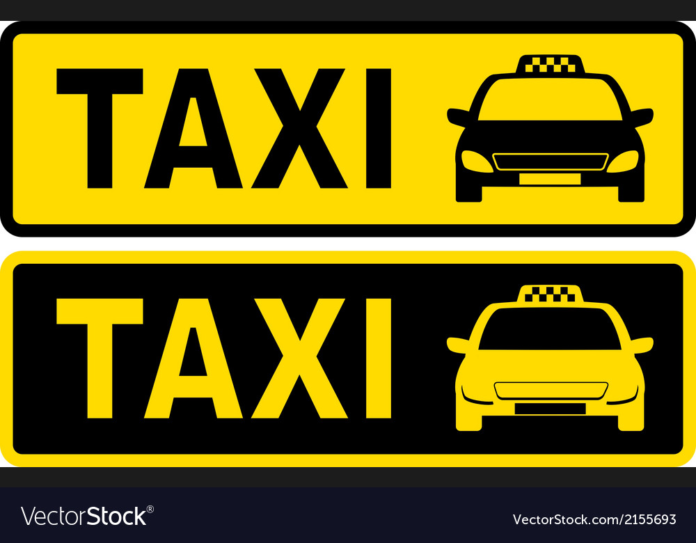Black and yellow taxi sign vector | Price: 1 Credit (USD $1)