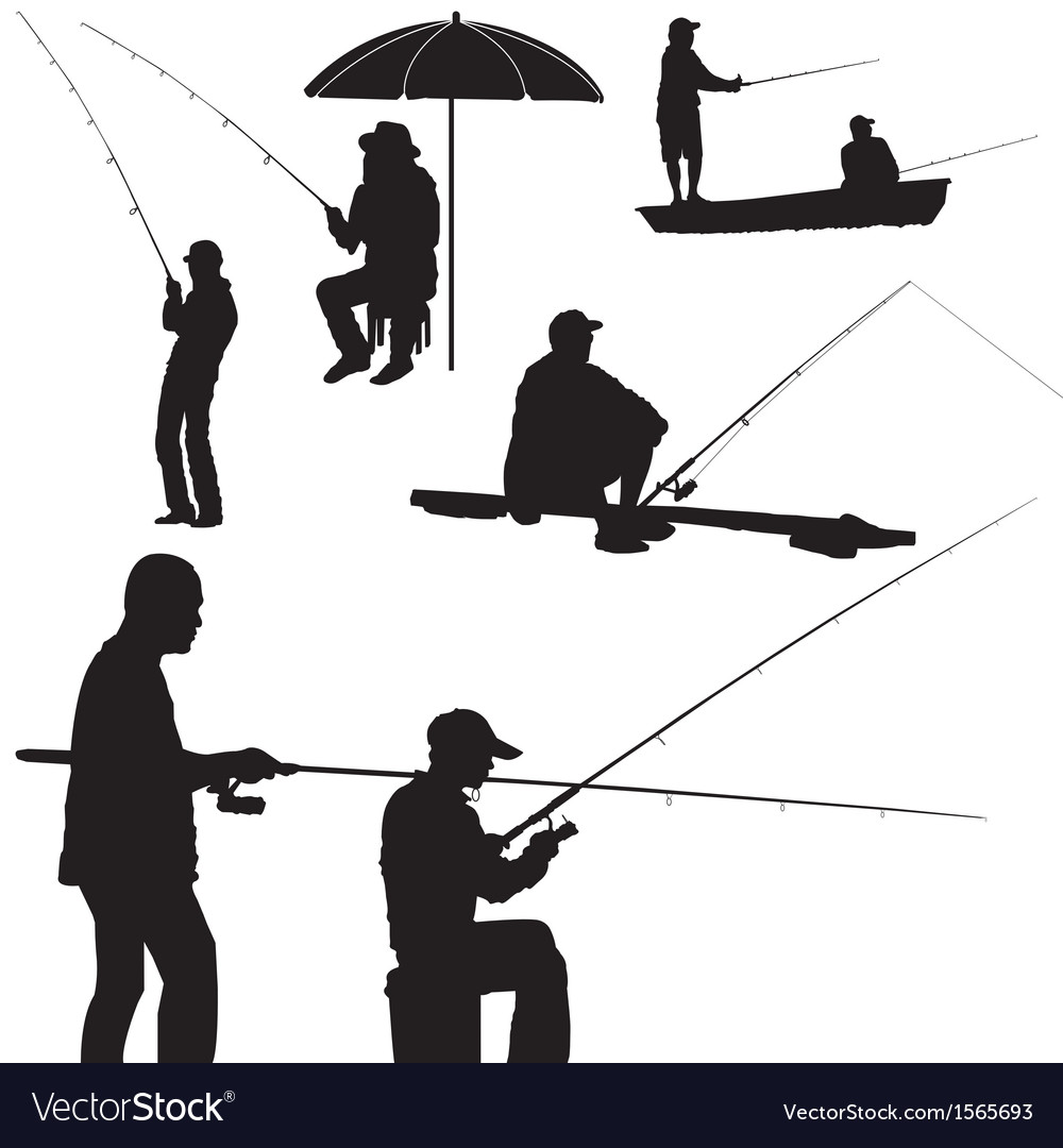 Fishing man silhouette vector | Price: 1 Credit (USD $1)