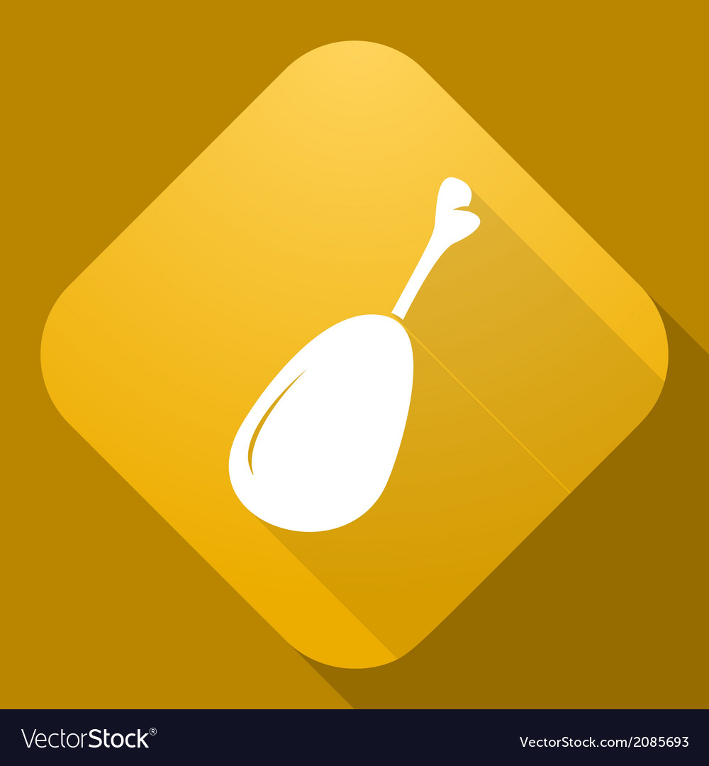 Icon of chicken leg with a long shadow vector | Price: 1 Credit (USD $1)