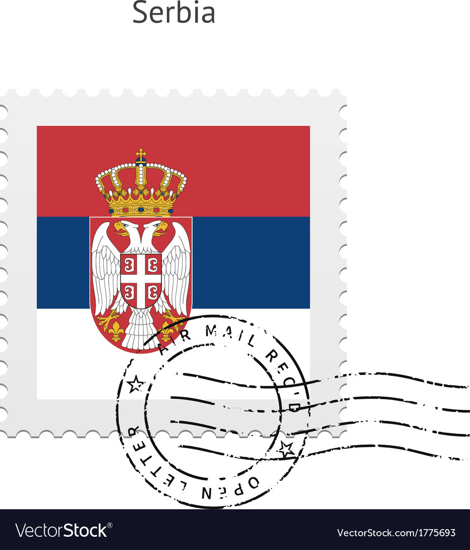 Serbia flag postage stamp vector | Price: 1 Credit (USD $1)