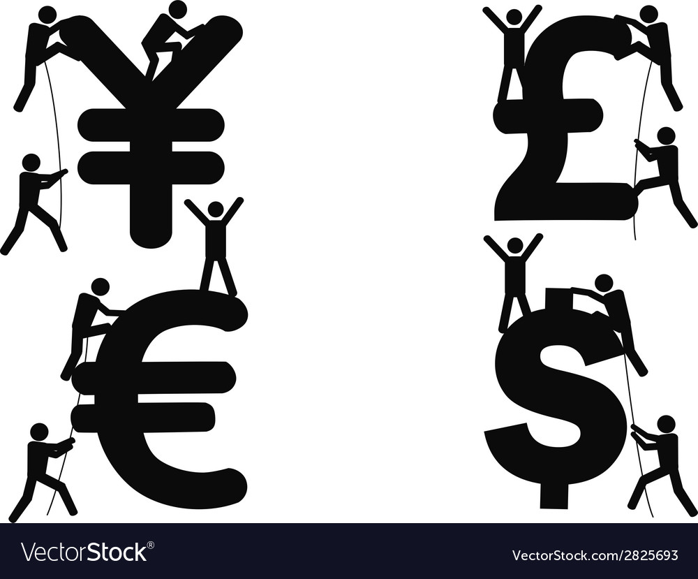 Stick figures climbing money sign vector | Price: 1 Credit (USD $1)