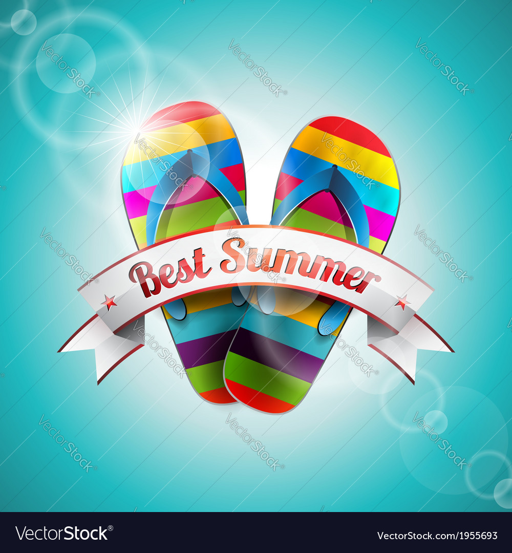 Summer holiday design with slipper and ribbon vector | Price: 1 Credit (USD $1)