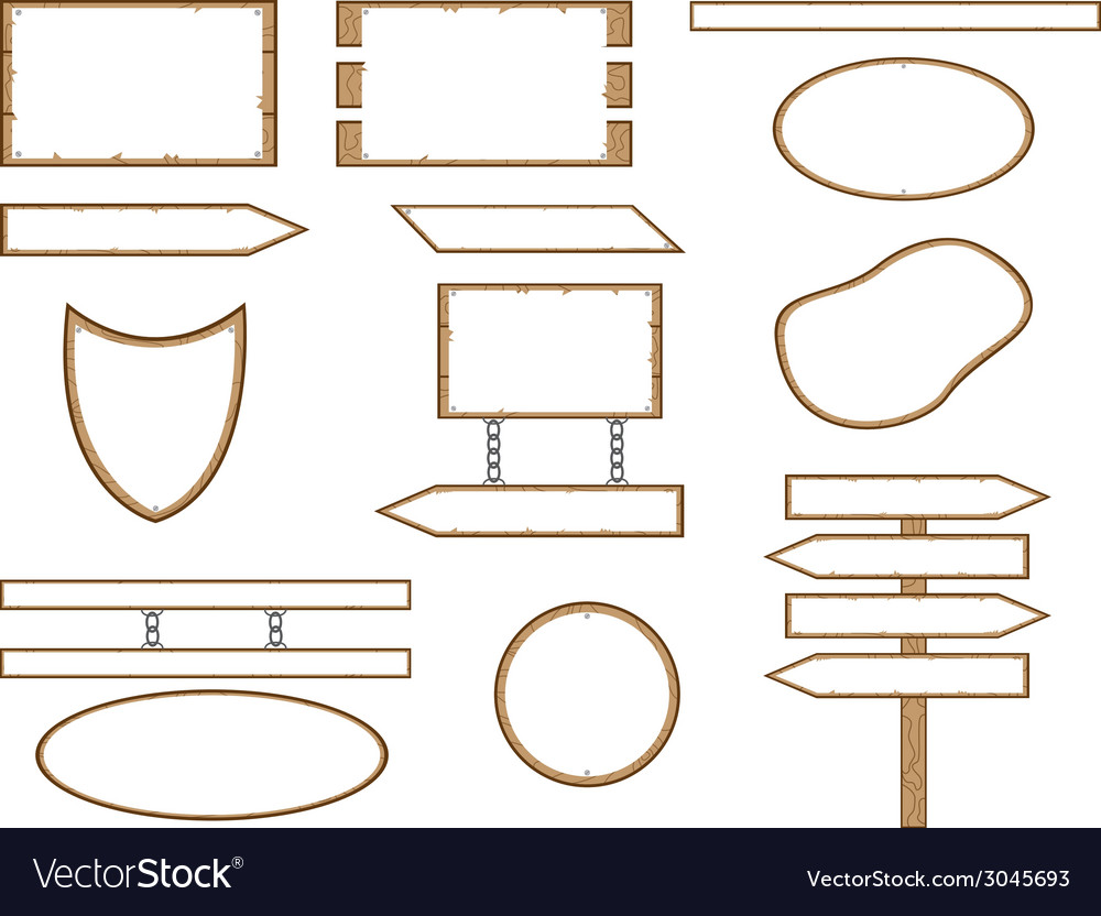 Wood shape signs vector | Price: 1 Credit (USD $1)