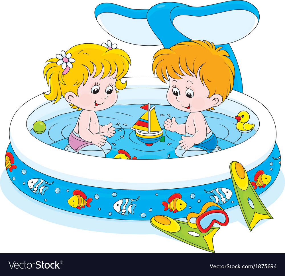 Children in a kids pool vector | Price: 1 Credit (USD $1)