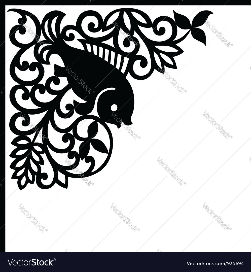Decorative element with fish vector   Price: 1 Credit (USD $1)