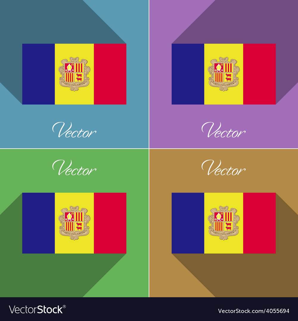 Flags andorra set of colors flat design and long vector | Price: 1 Credit (USD $1)