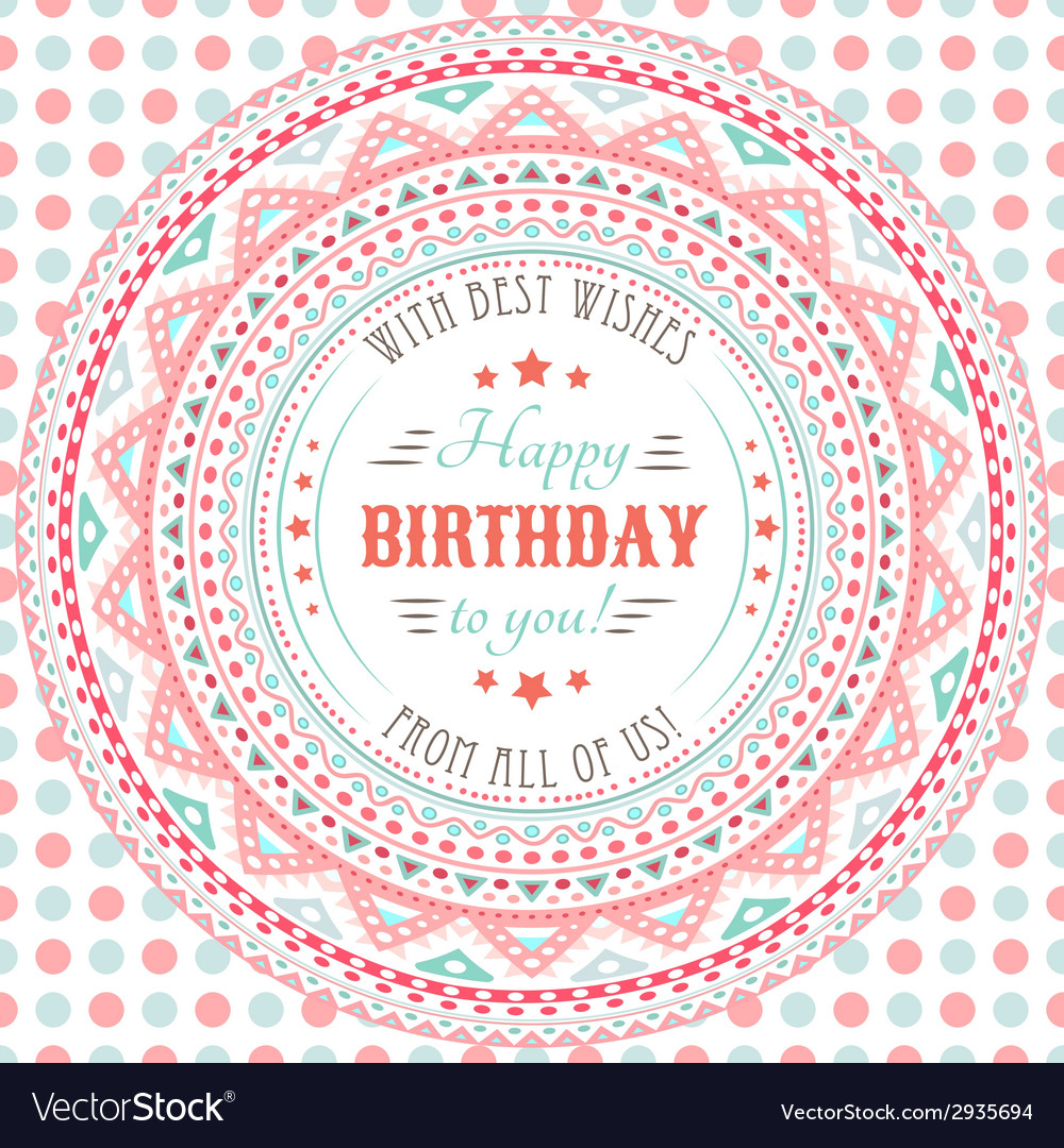 Funny cute happy birthday card typography letters vector | Price: 1 Credit (USD $1)