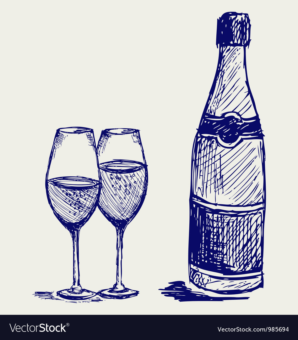 Glass of wine and a bottle vector | Price: 1 Credit (USD $1)