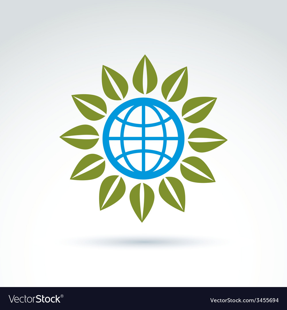 Globe with leaves growing icon ecological vector | Price: 1 Credit (USD $1)
