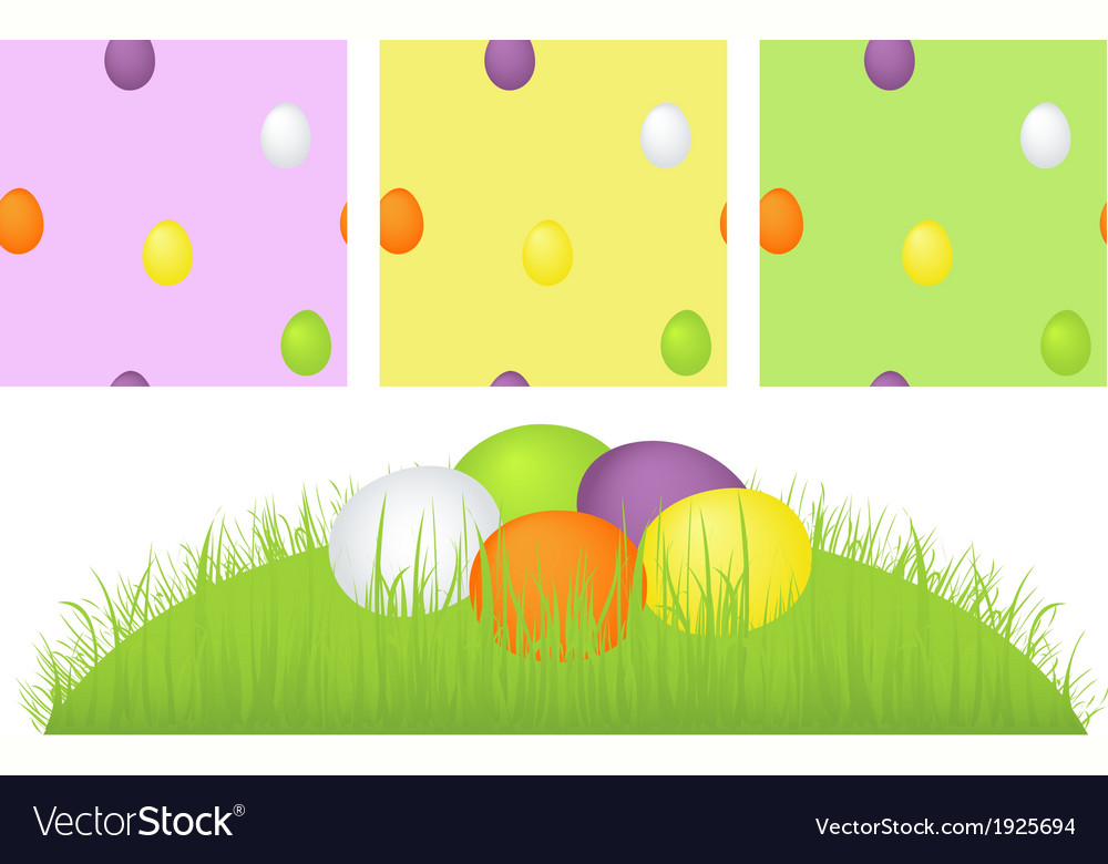 Grass easter eggs and pattern vector | Price: 1 Credit (USD $1)