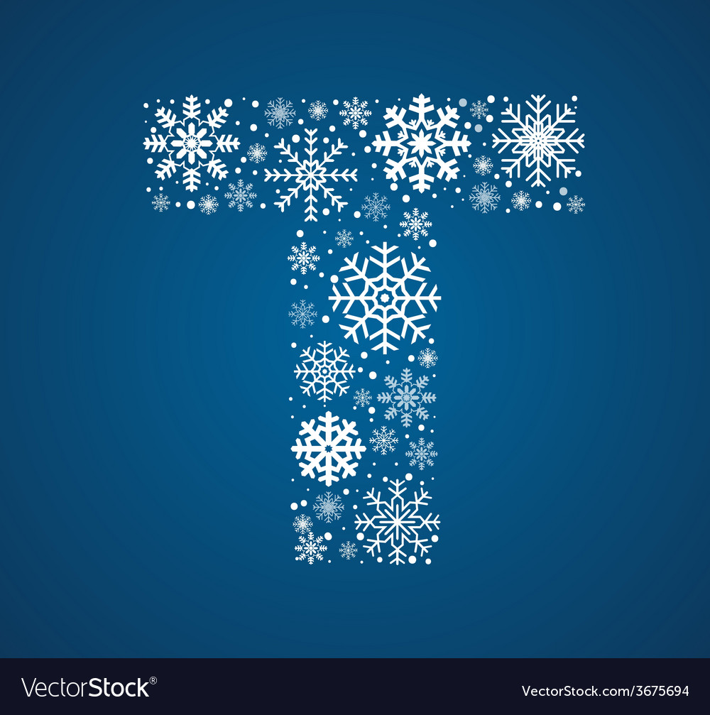 Letter t font frosty snowflakes vector | Price: 1 Credit (USD $1)
