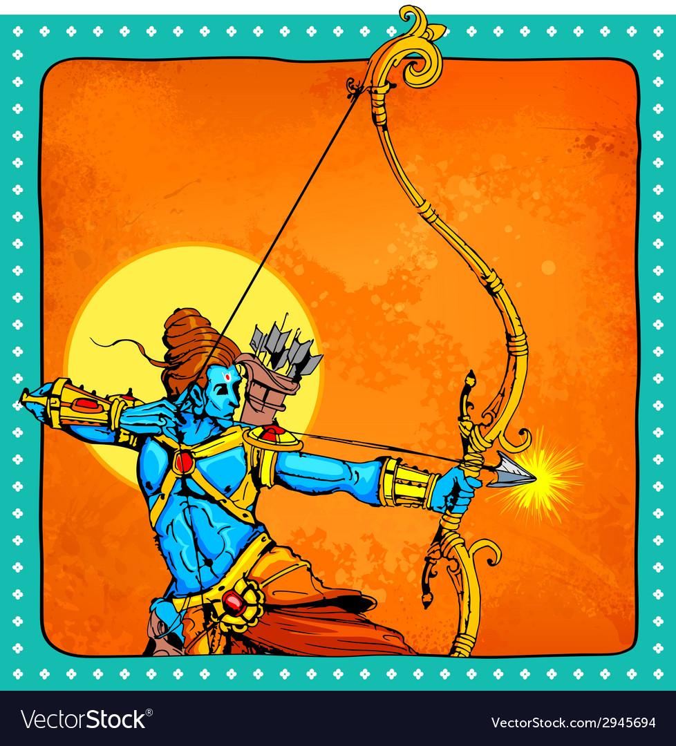 Lord rama with bow arrow killimg ravana vector | Price: 1 Credit (USD $1)