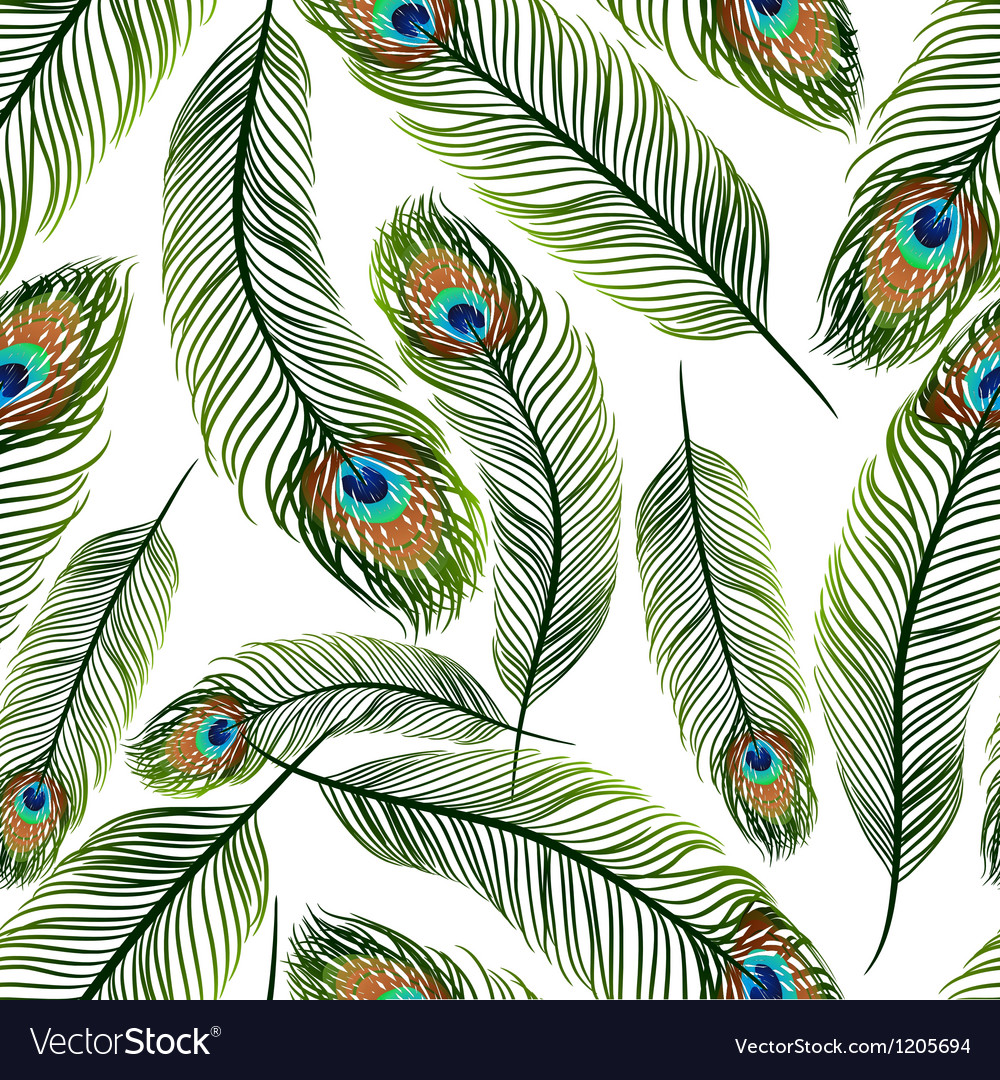 Seamless texture with peacock feathers vector | Price: 1 Credit (USD $1)