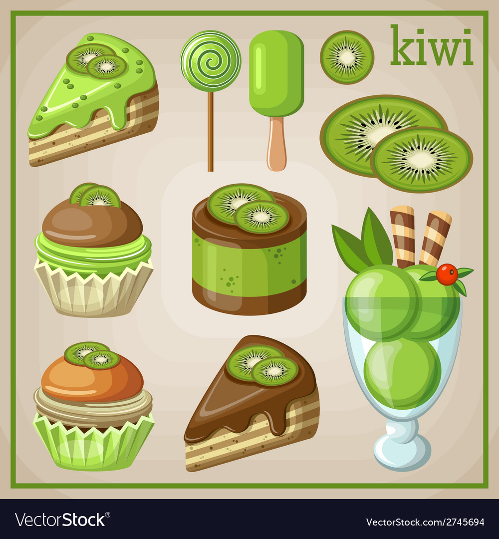 Set of sweets with kiwi vector | Price: 3 Credit (USD $3)