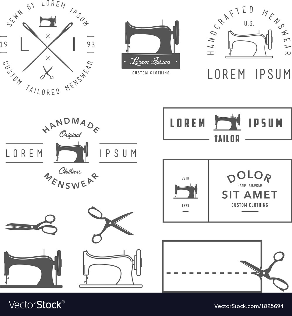 Set of vintage tailor design elements vector