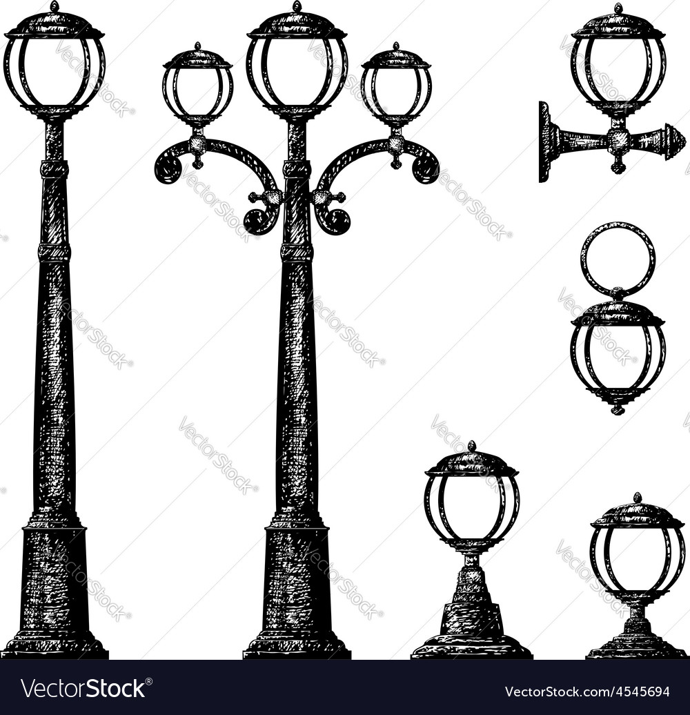Sketch of street light drawing vector | Price: 1 Credit (USD $1)