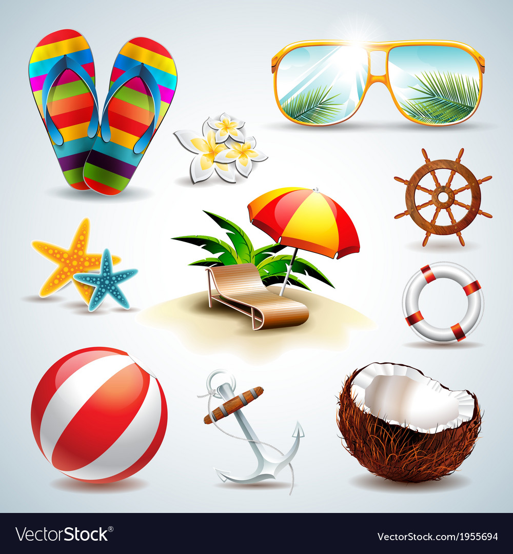 Summer holiday icon set on clear background vector | Price: 3 Credit (USD $3)