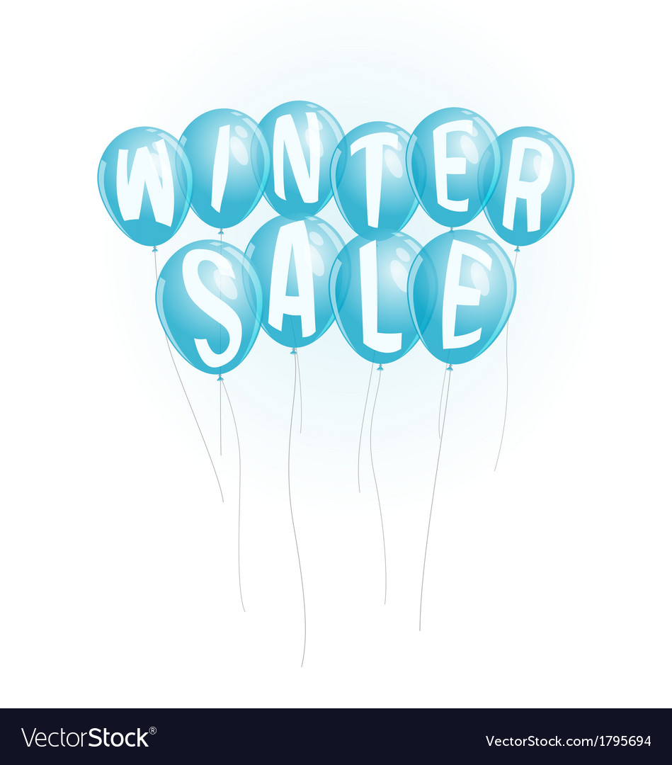 Winter sale advertisement with blue balloons vector | Price: 1 Credit (USD $1)