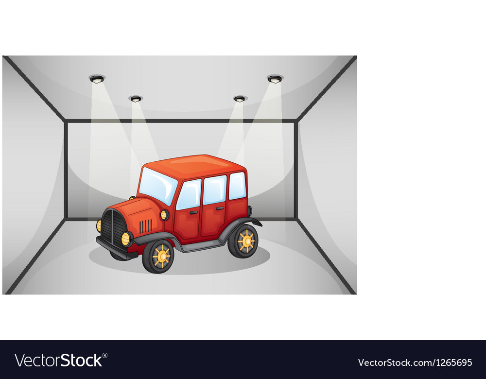 A red jeep inside the garage vector   Price: 1 Credit (USD $1)