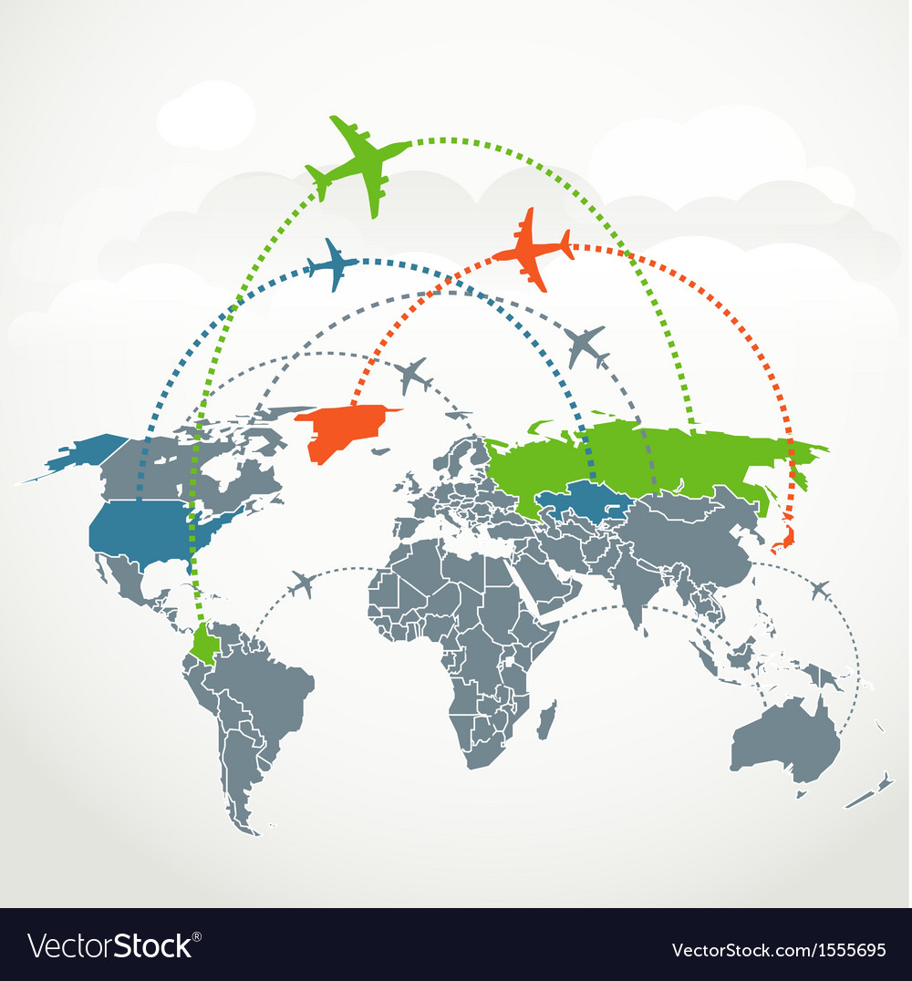 Abstract communication scheme of foreign flights vector | Price: 1 Credit (USD $1)
