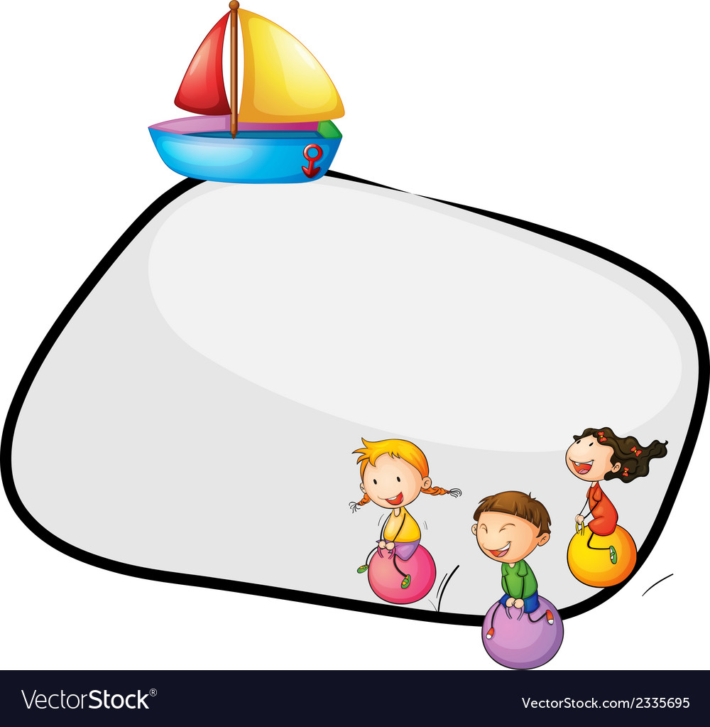 An empty template with kids playing and a ship vector | Price: 1 Credit (USD $1)