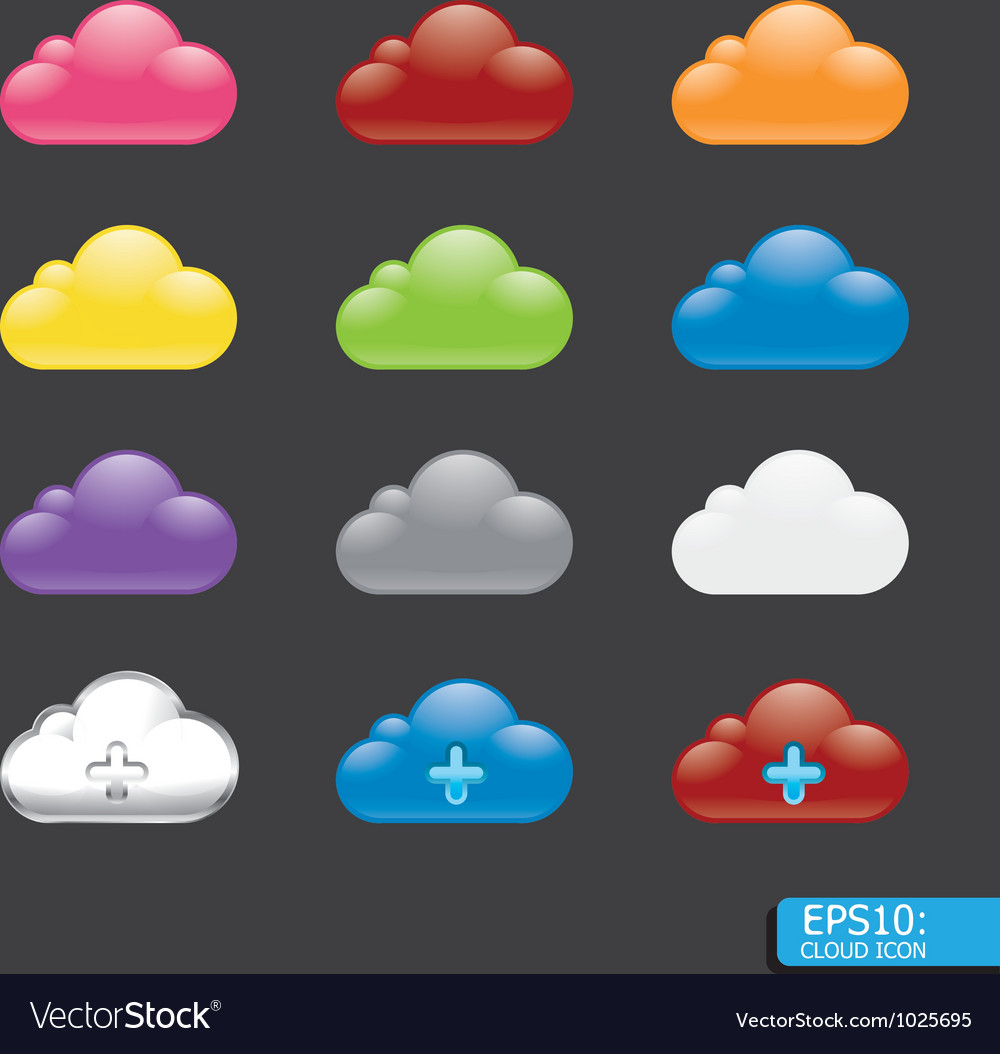 Button with cloud color icon vector | Price: 1 Credit (USD $1)