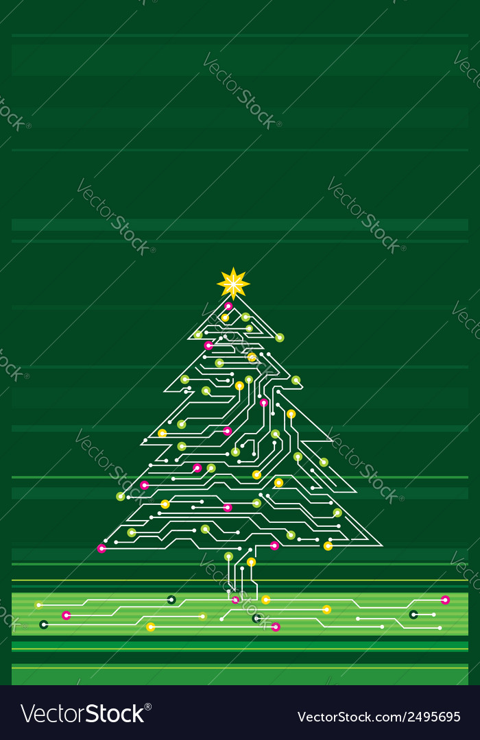 Christmas tree made of electronics elements vect vector | Price: 1 Credit (USD $1)