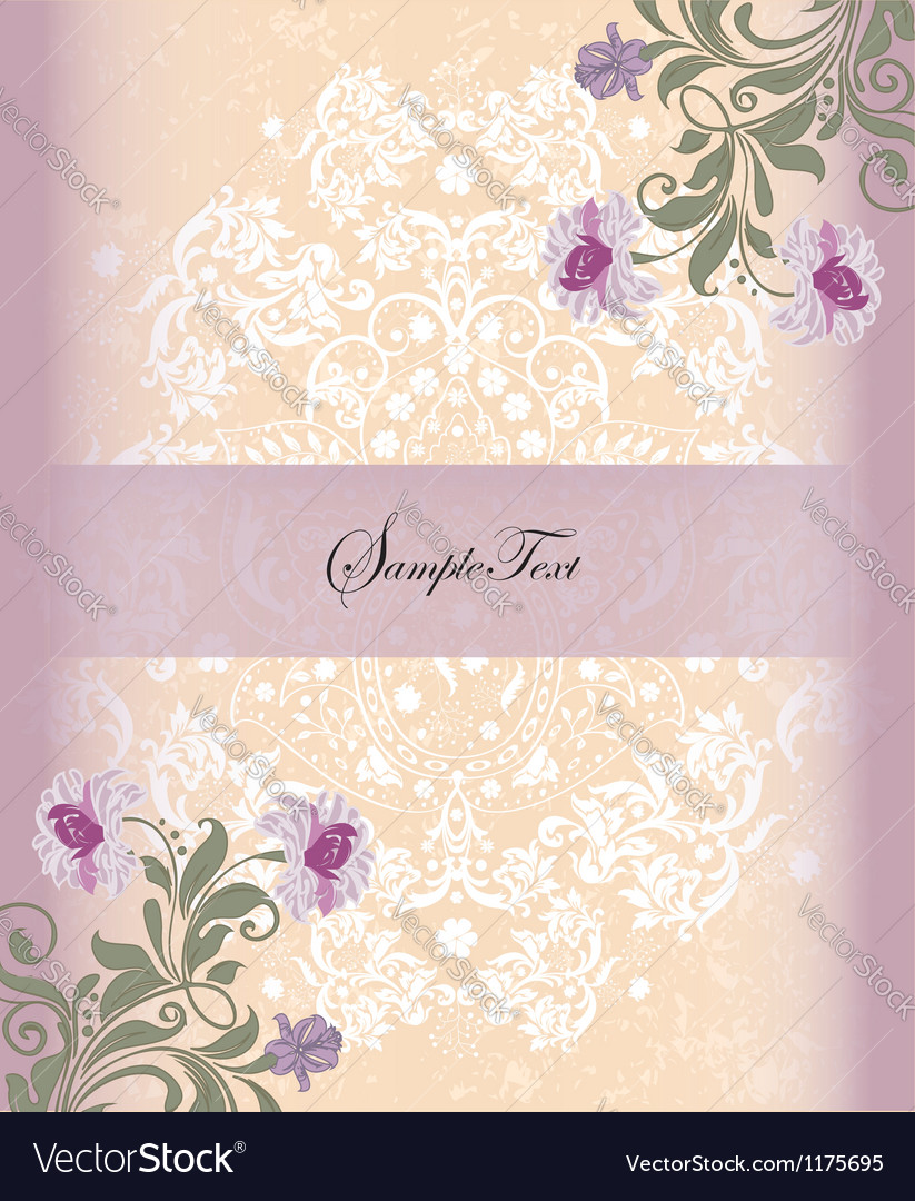 Damask invitation card with purple flower vector | Price: 1 Credit (USD $1)