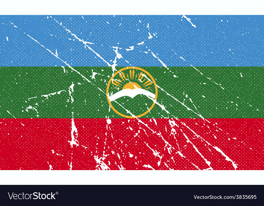 Flag of karachay-cherkessia republic russia with vector | Price: 1 Credit (USD $1)