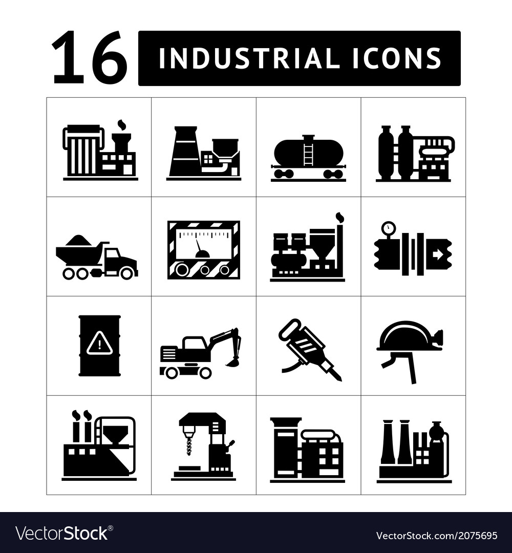Industrial and factory icons set vector | Price: 1 Credit (USD $1)