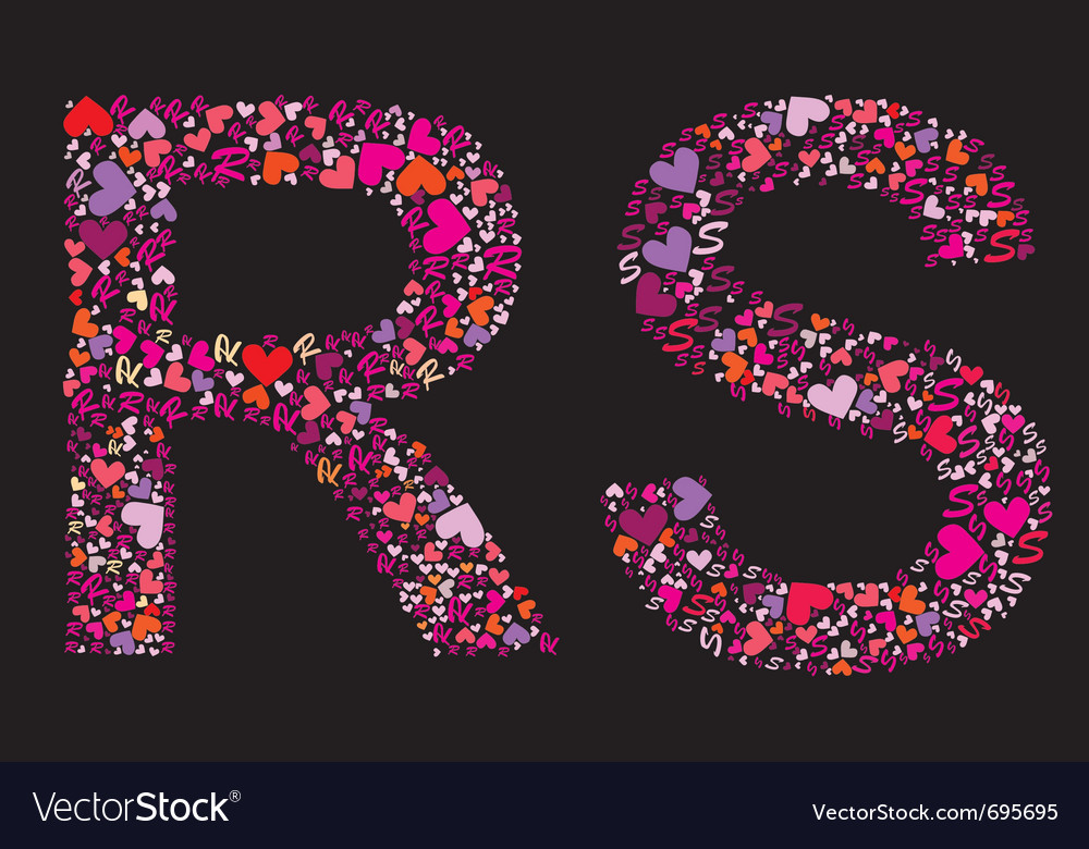 Letter r s valentine alphabet vector | Price: 1 Credit (USD $1)