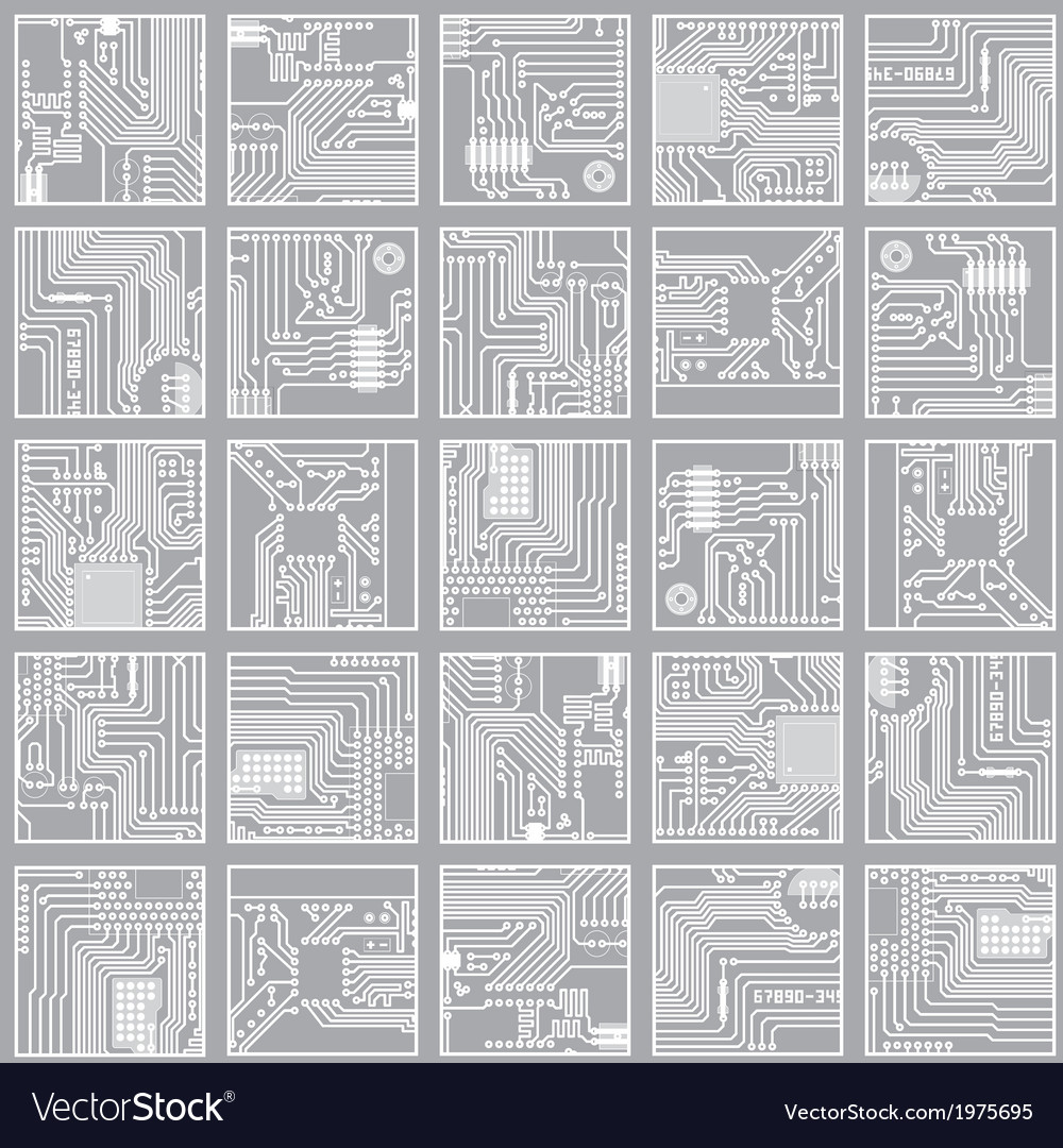 Seamless electronic pattern computer circuit board vector | Price: 1 Credit (USD $1)