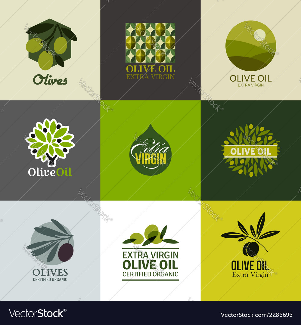Set of labels and emblems with olive branch vector | Price: 1 Credit (USD $1)