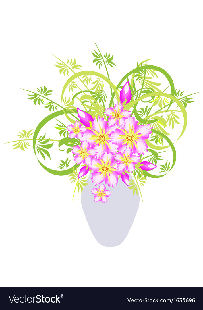 Abstract flowers in vase vector | Price: 1 Credit (USD $1)