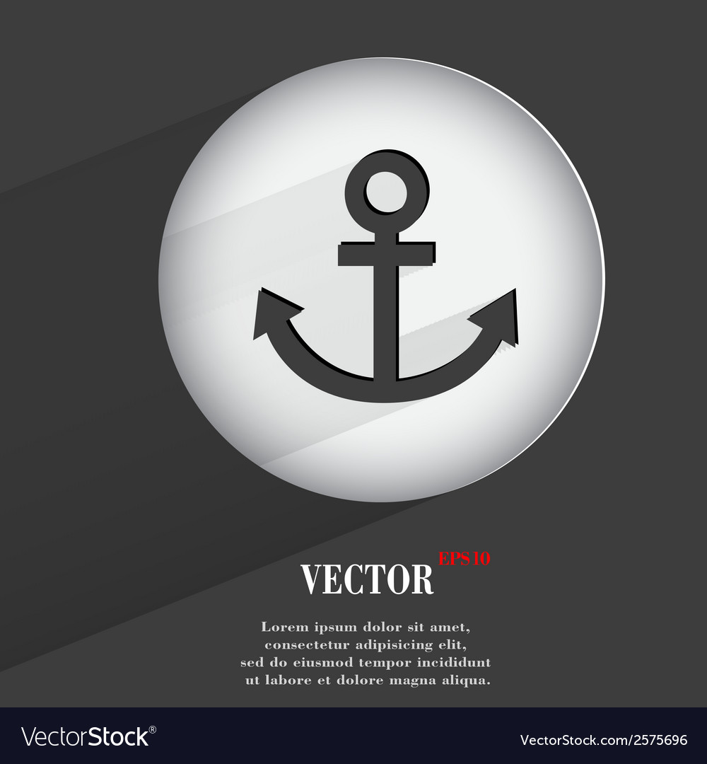 Anchor flat modern web button with long shadow and vector   Price: 1 Credit (USD $1)