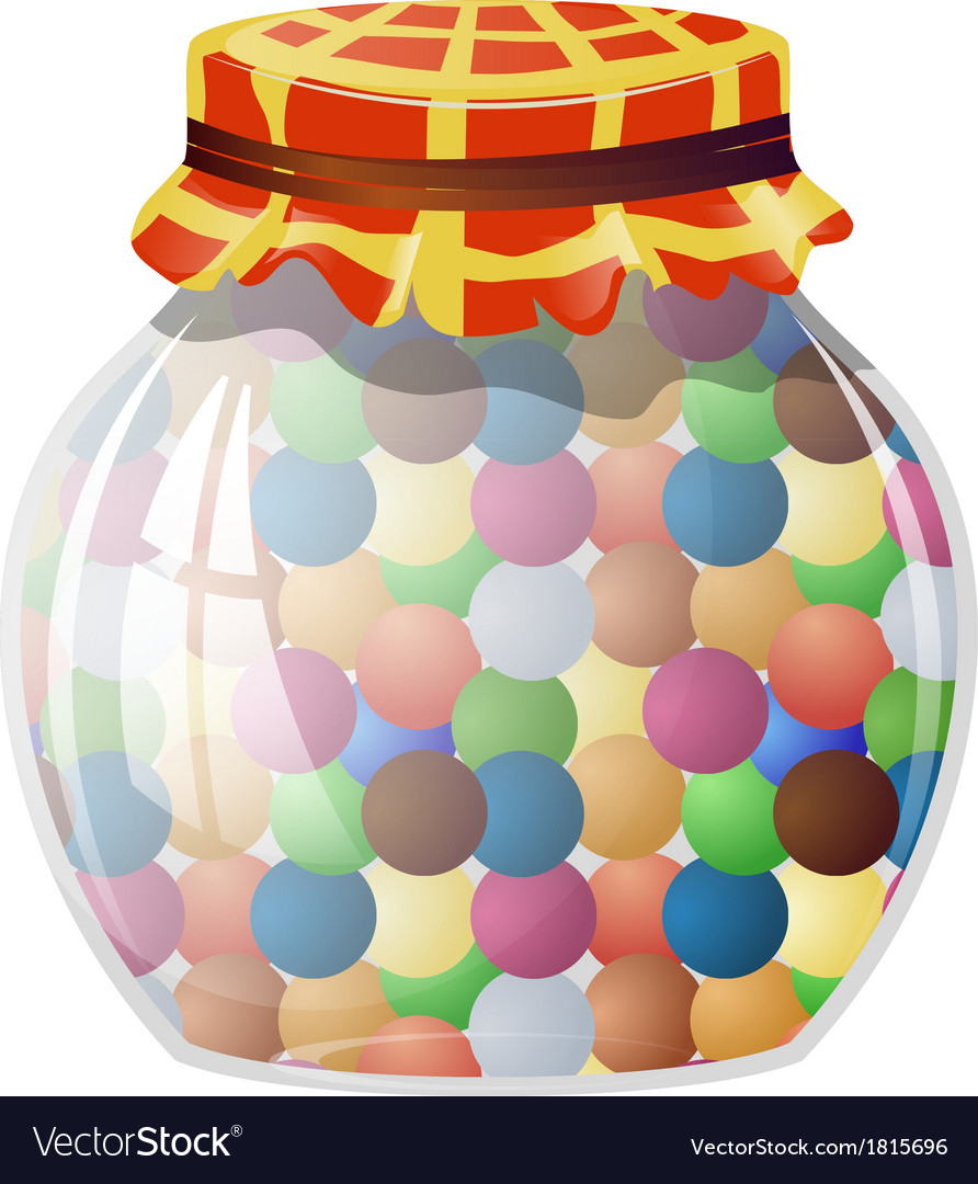 Glass jar with round sweets vector | Price: 1 Credit (USD $1)