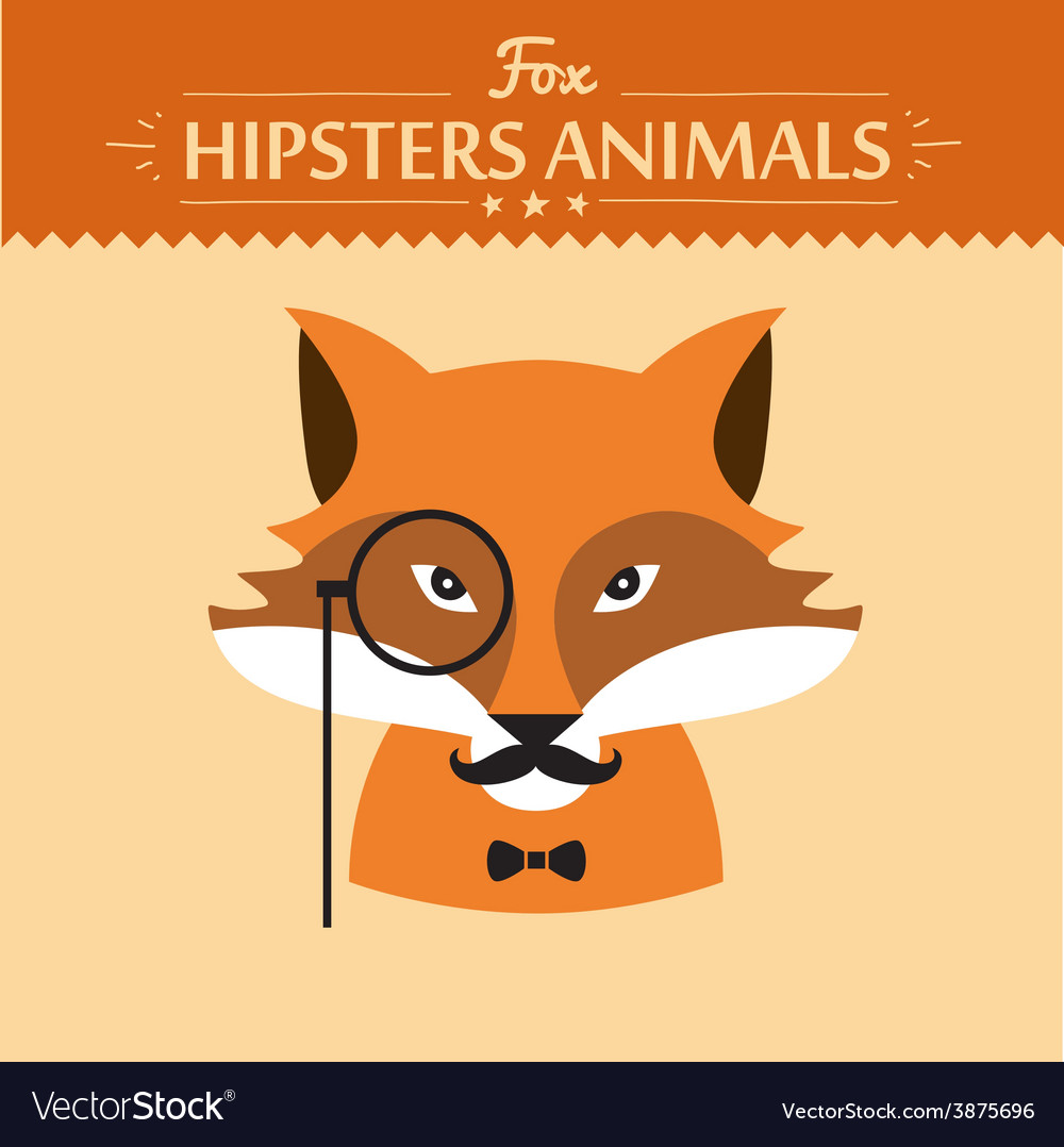Hipster fashion animal with classic hipster vector   Price: 1 Credit (USD $1)