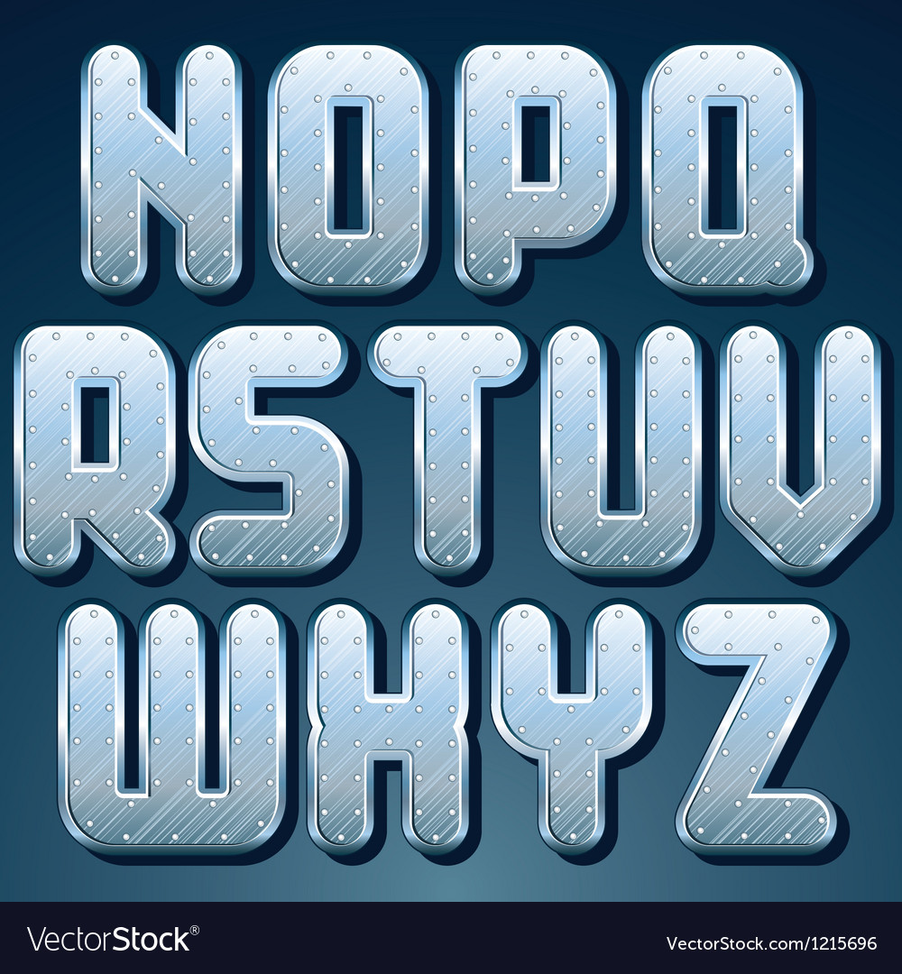 Metallic font set of shiny silver letters vector | Price: 1 Credit (USD $1)